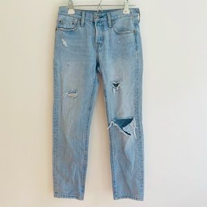 Levi's 501 Ripped Light Wash Cropped Jeans W24 L28